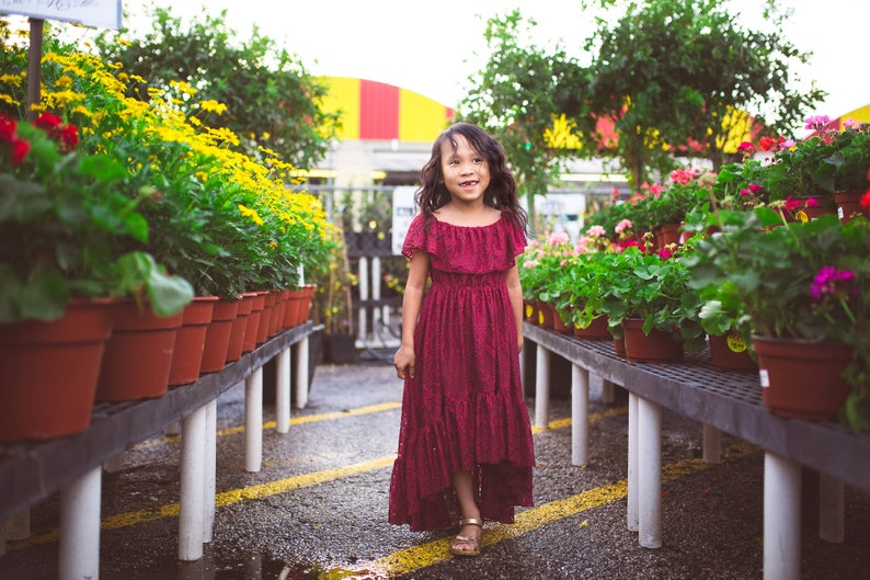 e2061ba29 Bohemian High Low Lace Dress Girls Toddlers Boho Burgundy