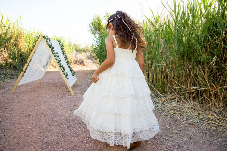 711703e54 Boho Flower Girl Dress First Communion Dress White Lace