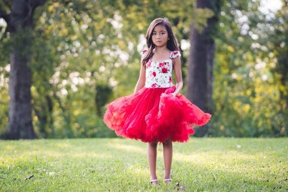 Toddler Girl Holiday Red Pink Rose Print Tutu Twirl Dress for  1e5b88de2017