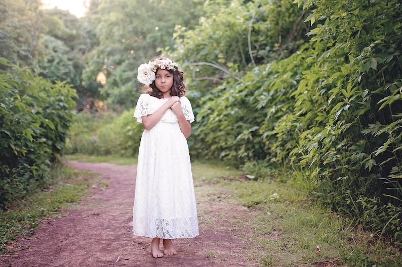 c1e5f372a First Communion Dress White Flower Girl Dress Boho Dress