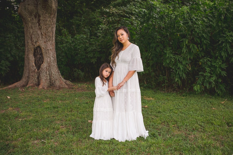 92db5e5b8879f Bohemian Mother Daughter Matching Dresses Outfits Boho Mommy and Me White  Lace Maxi Dresses Evangeline