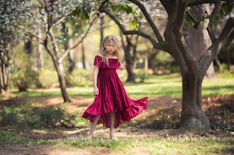 ad9f8d569 Burgundy Red Flower Girl Lace Dress Boho High Low Lace Dress