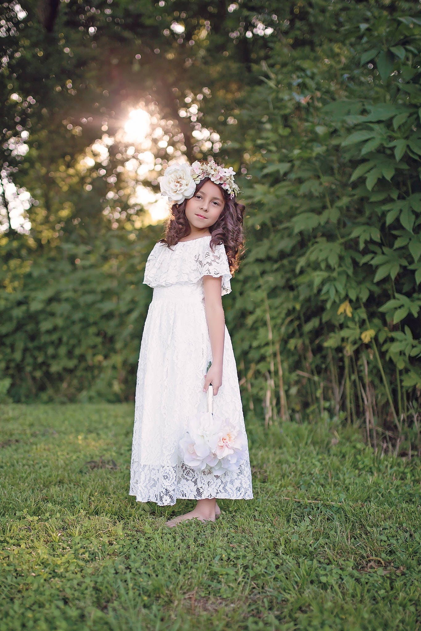 Girls Boho Lace Dresses Flower Girl Dresses First ...