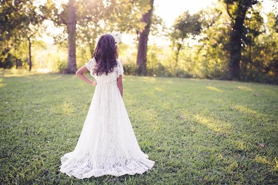 378866408 Lace Flower Girl Dress Boho Lace Dress Rustic Flower Girl