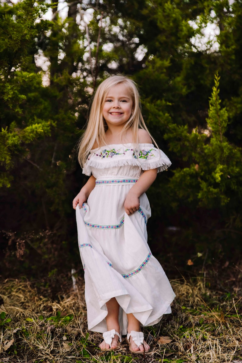 cee702d0d94fb Country Flower Girl Dresses, White Boho Dress, Girls Maxi Dress, Girls Boho  Dress, Shabby Chic, Ruffle Dress, Photography Dress, Esme