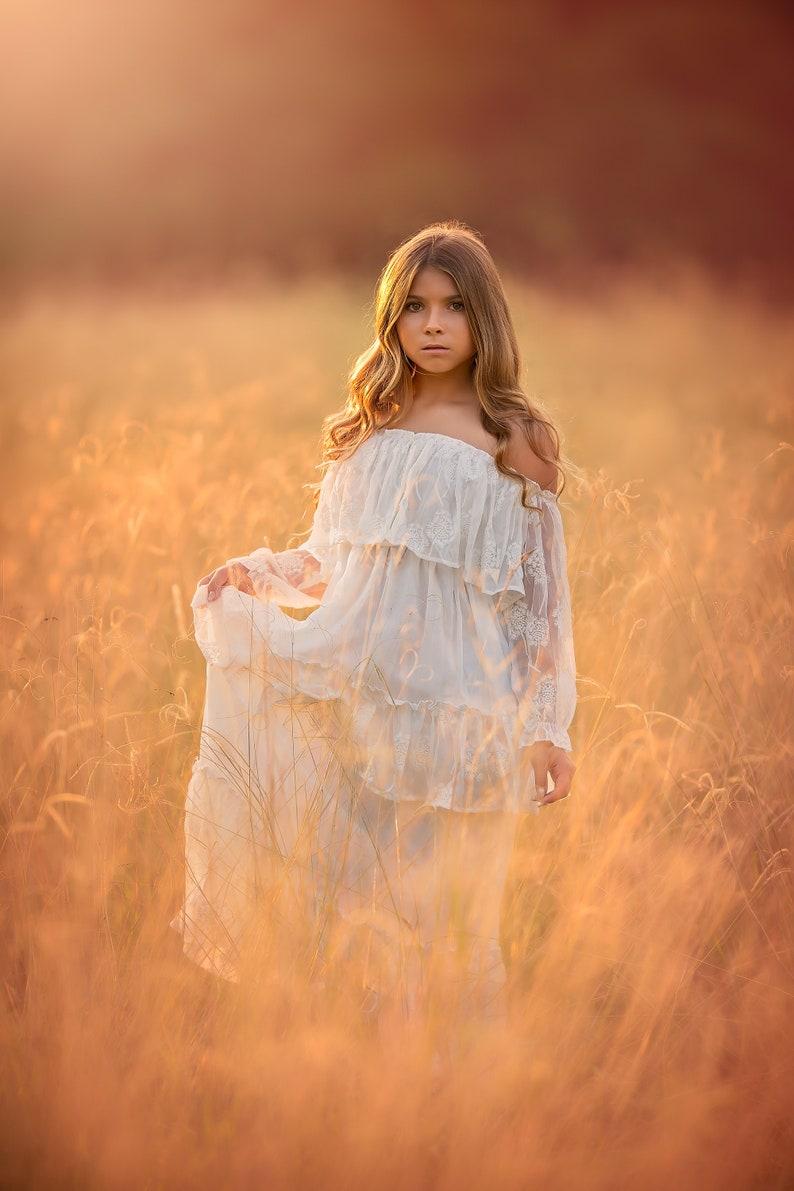 c11d55983 Beach Boho Flower Girl Dress White Off Shoulder Maxi Dress