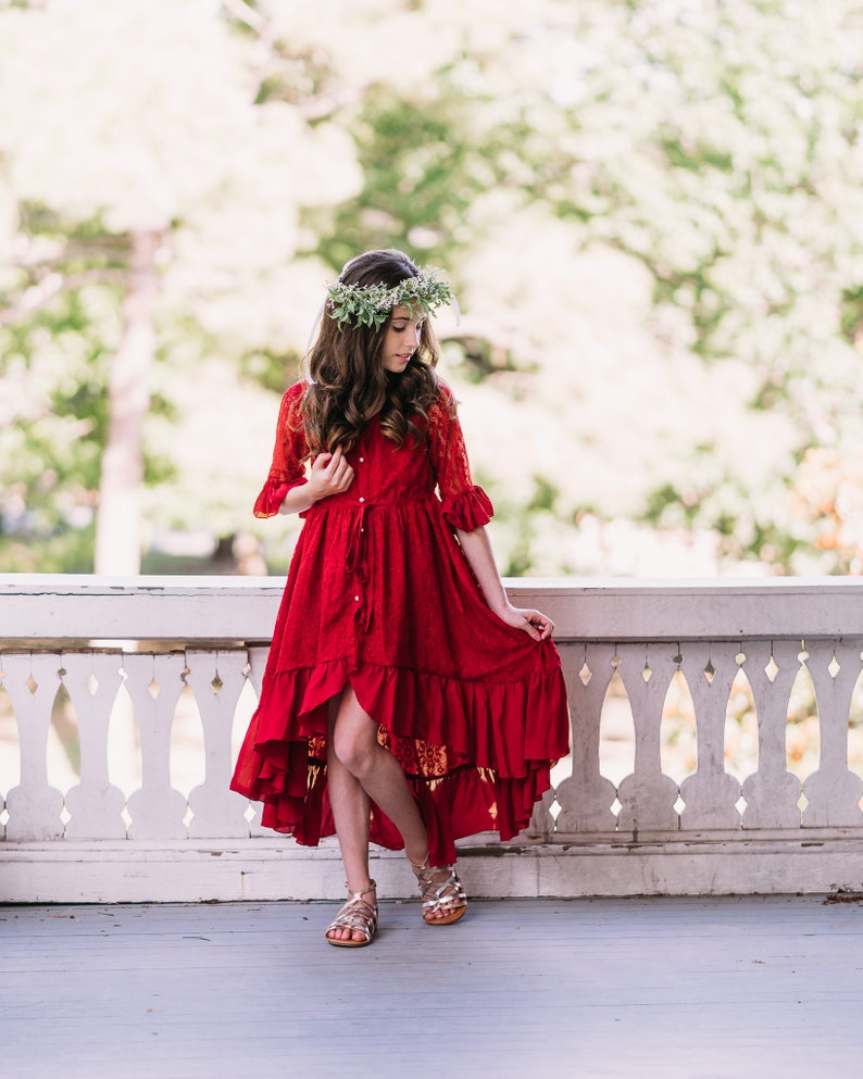 Red Christmas Dress Toddler Christmas Dress Baby Holiday Lace Dress Valentines Dress Photoshoot Photo Prop Dress High Low Maxi Mara