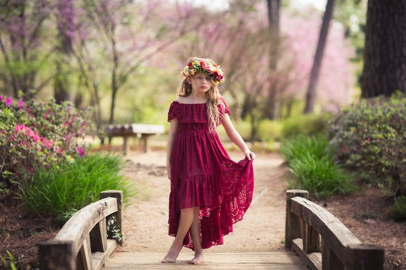 b55c080fe Flower Girl Bohemian Lace Dress Boho Burgundy High Low Lace