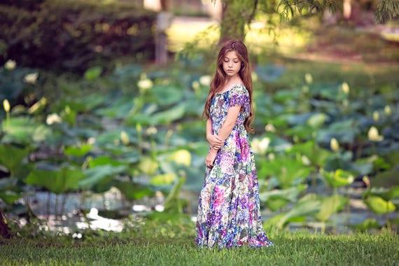 76592cd8df3 Bohemian Lace Flower Girl Maxi Dresses Boho Off Shoulder
