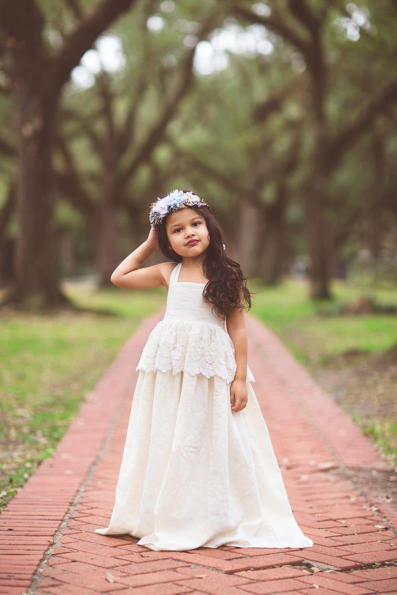99f6070a2937 Ivory Lace Tween Flower Girl Dress Toddler Bohemian Beach   Etsy