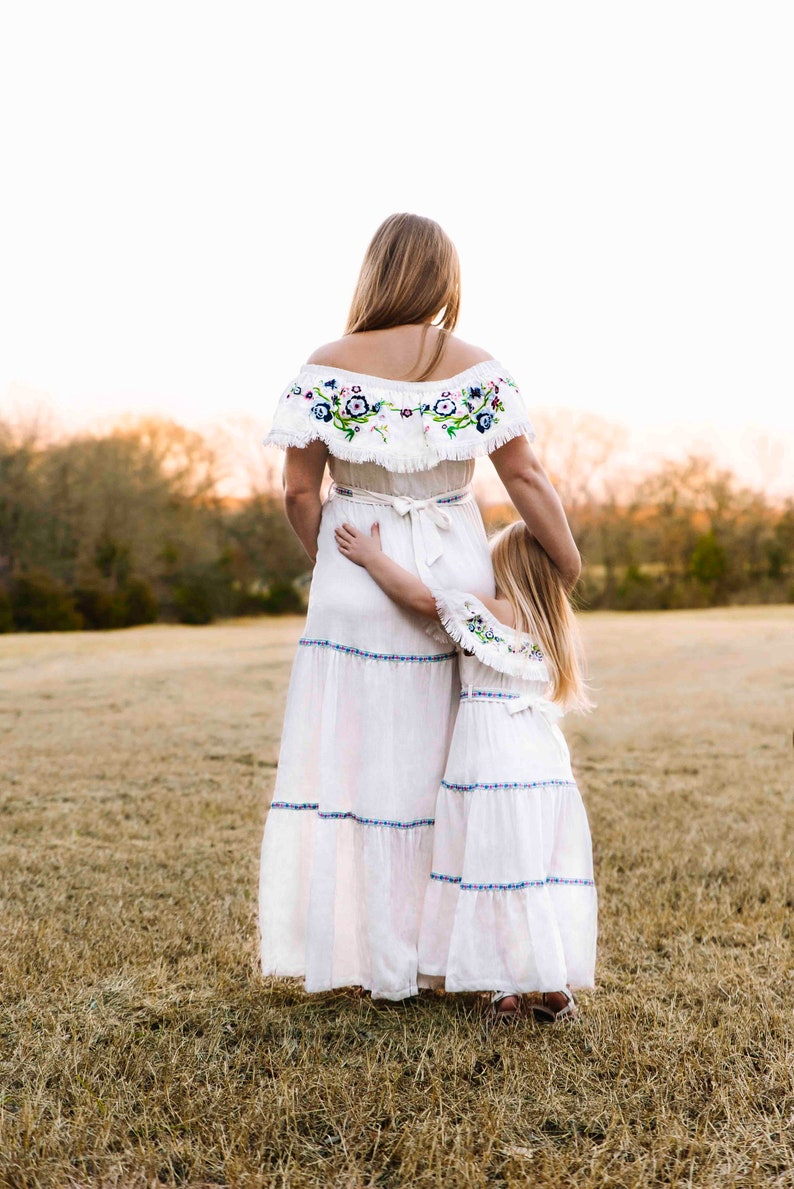 972ed072856 Bohemian mommy and me matching beach photoshoot maxi dresses etsy jpg  794x1189 Beach mom white drees