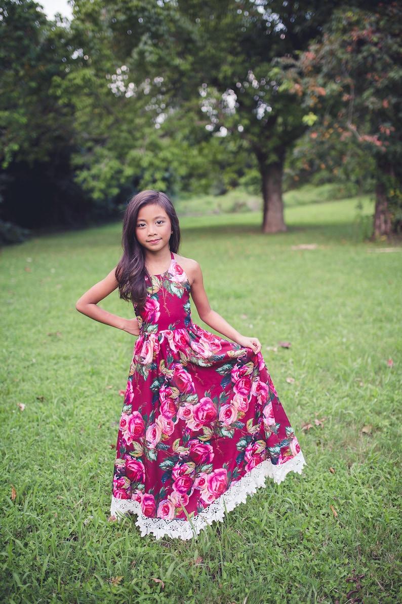 b37c65ef9f5f Girls Burgundy Floral Maxi Dress Toddler Fall Autumn Dress | Etsy