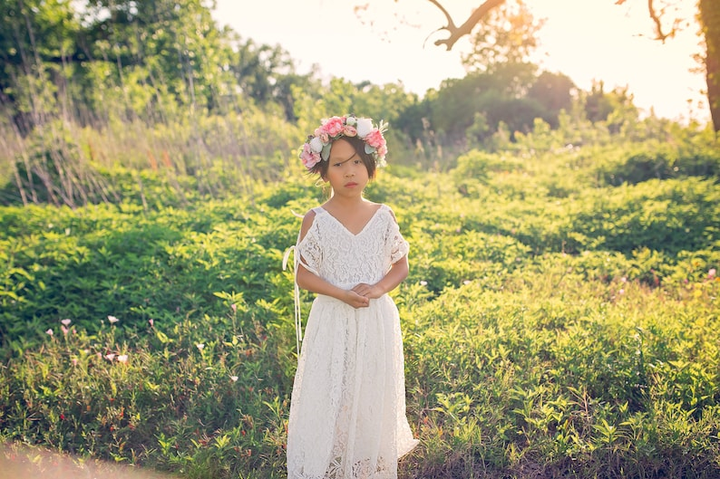 2baadfd7ffe Boho Junior Bridesmaid White Lace Dress Rustic Shabby Off