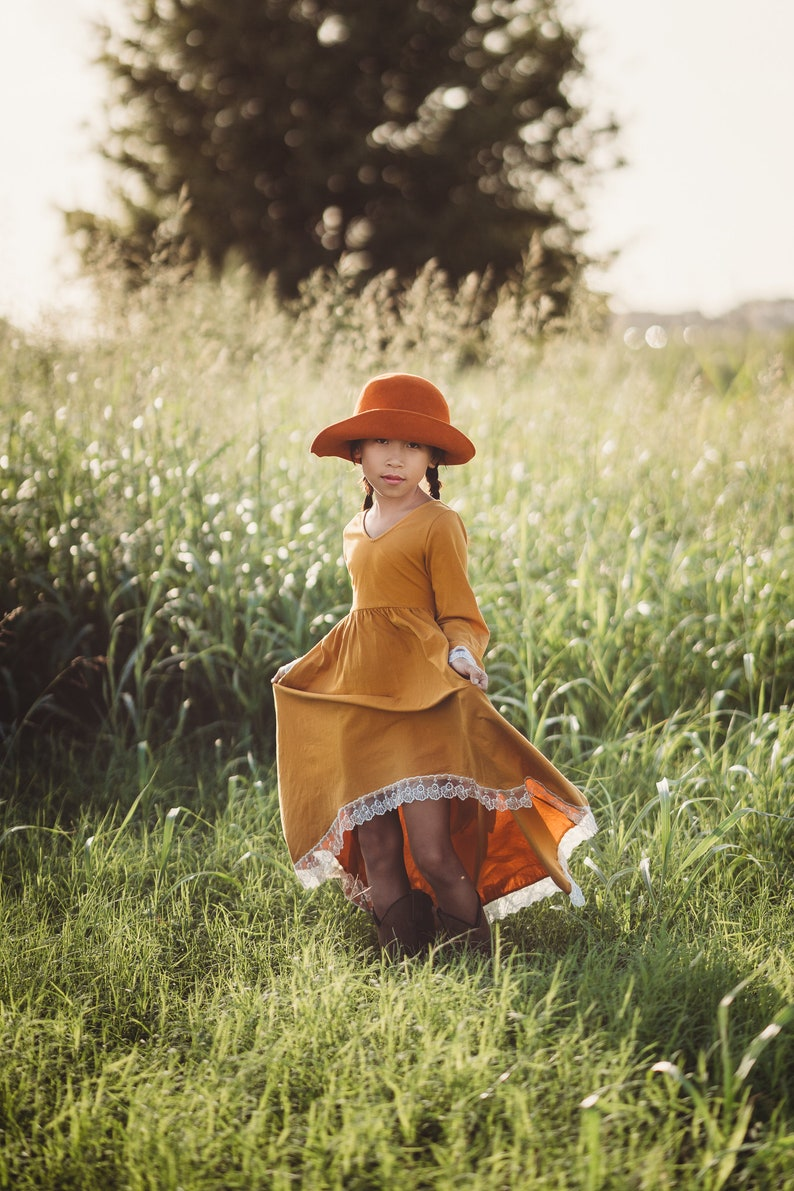Boho Flower Girl Dress Burnt Orange Maxi Dress Mustard Yellow Junior Bridesmaid Dress Cotton High Low Twirl Dress Spring Dress Guinevere