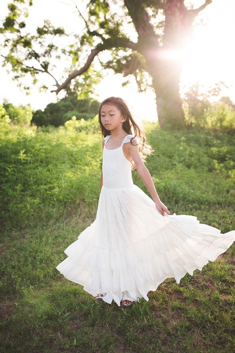 cc097b9bfee Boho Tween Junior Bridesmaid Lace Dress Bohemian Beach White