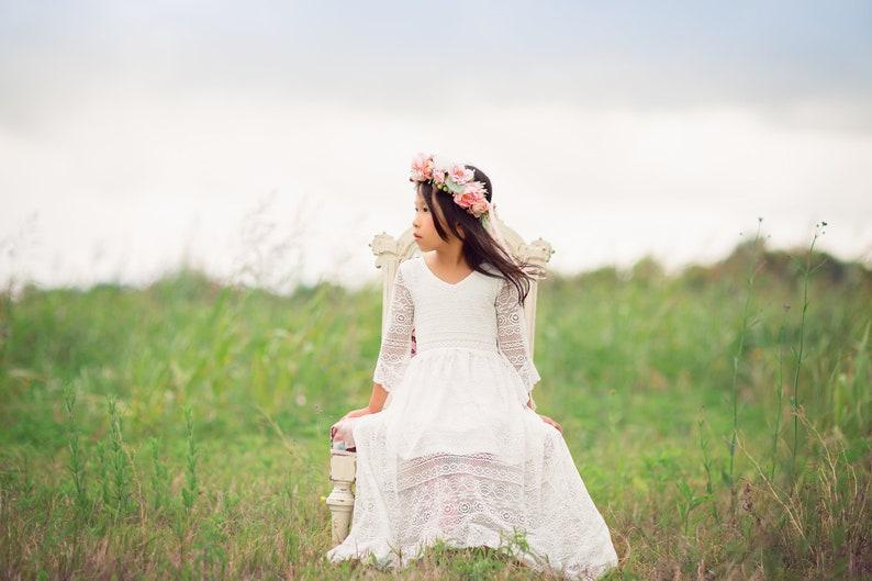d31e1b0d0e7 Boho Girl White Photography Photoshoot Dress Bohemian Tween