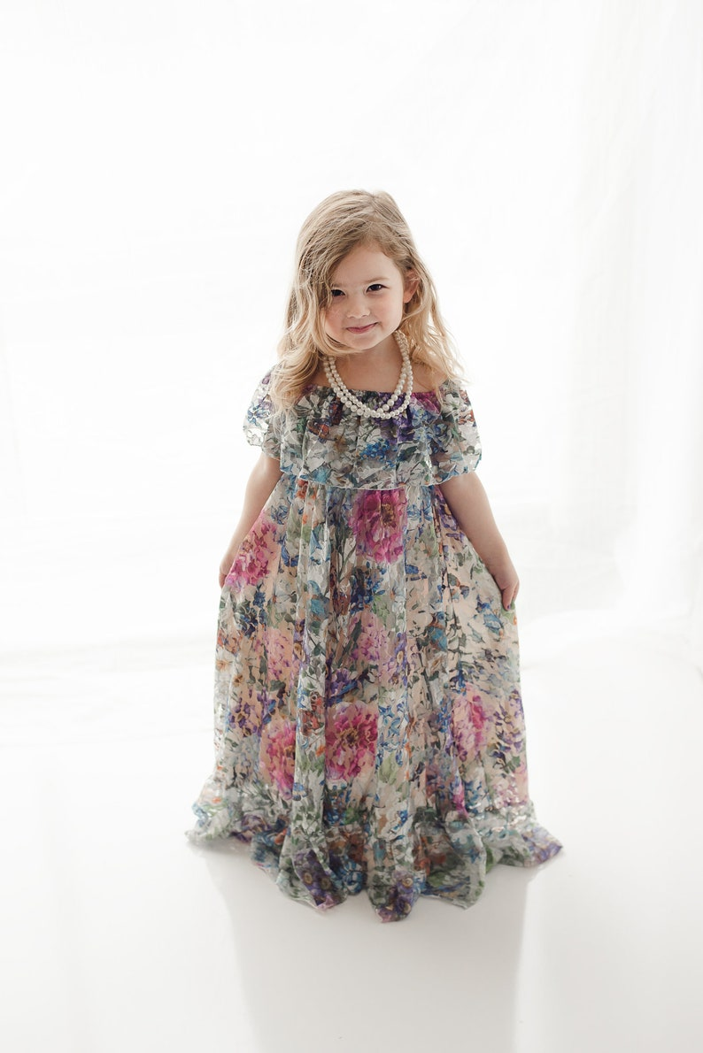 135f6d62e0 Lace Flower Girl Maxi Dress, Bohemian Junior Bridesmaid Dress, Girl Toddler  Boho Lace Dress, Shabby Chic Photography Dress, Delphine 4T