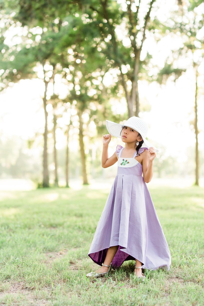 Lavender Purple Easter Dress Heirloom Summer Floral Dress Floral Embroidery Little Girls Twirl Dress Cotton High Low Dress Spring Bloom