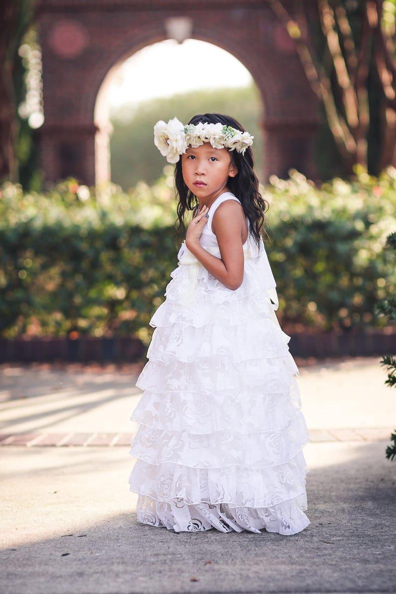 b59bde8c6c White Princess Ruffle Flower Girl Dresses Tween Junior