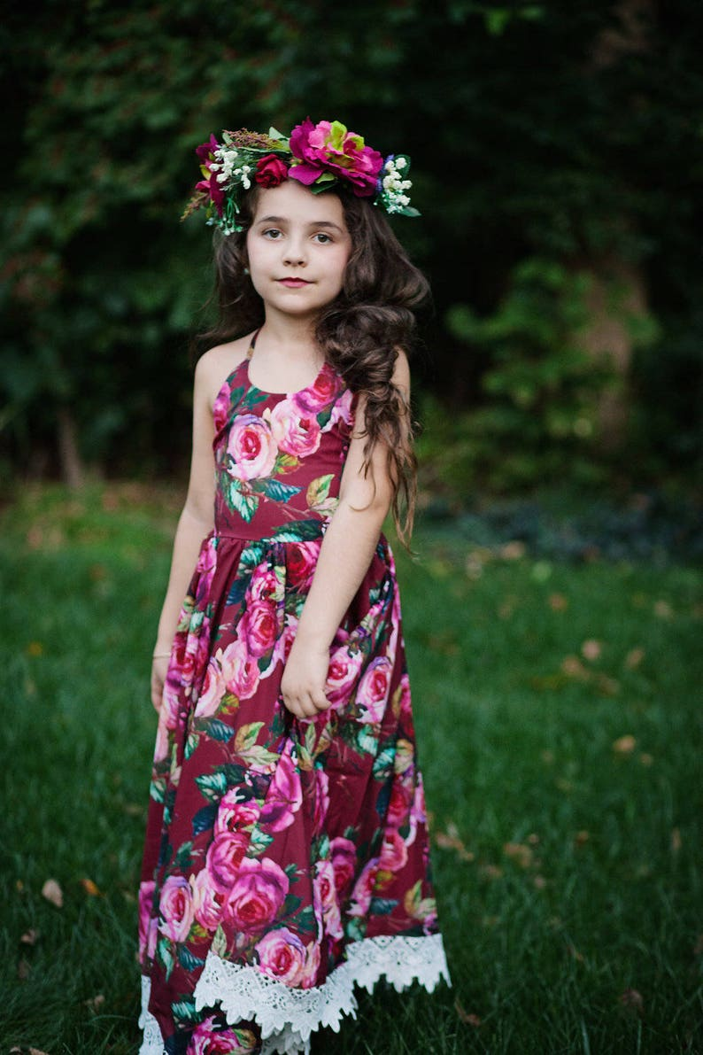 7858bd3bfa61 Girls Burgundy Floral Maxi Dress Girls Boho Rose Maxi Dress | Etsy