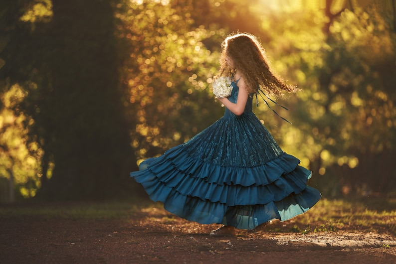 Teal Blue Girls Pageant Dress Princess Couture Woodland Fairy Dress Peacock Blue Winter Flower Girl Lace Maxi Dress Rustic Wedding Versaille