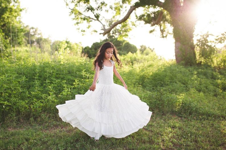 48bef150200 Beach Junior Bridesmaid White Lace Floor Length Dress Tween