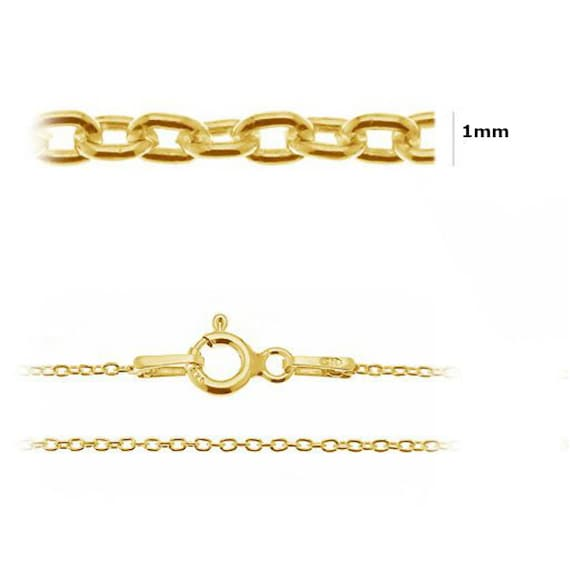 24K Gold Plated Sterling Silver Trace Chain 1.0mm 17 inch Chain Findings