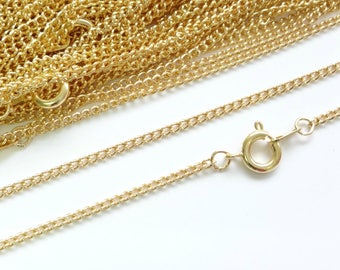 10x 22ct Gold Plated Necklace Curb Chain 16 18 24 Inches