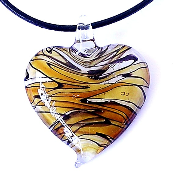 Murano Lampwork Glass Heart Pendant 45mm Pick You Colour