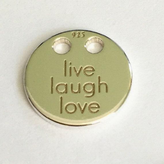 Or Rose 18k En Argent Sterling 24k Or Live Laugh Love Disque Charme