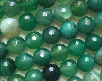 Natural Green Stripe Agate Faceted Round Gemstone 4mm 6mm 8mm 10mm Loose Beads