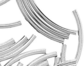 Sterling Silver Curved Tube Beads 25x1.5mm PK10 PK50 Spacer Beads