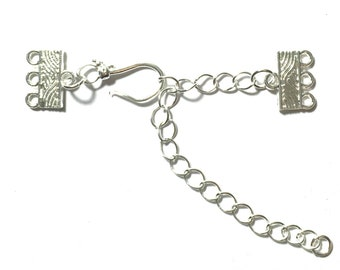 5 Silver Plated Hook & Eye Clasps 3 Strands Necklace Clasp, Bracelet Clasps