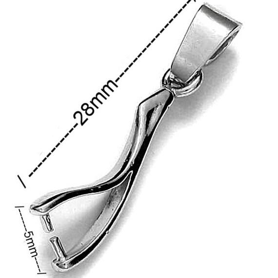 .925 Sterling Silver 13mm Pinch Bail Findings PK1 PK5