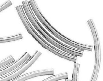 Sterling Silver Curved Tube Spacer Beads 20x2mm PK10 PK50