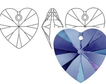 Swarovski 6228 Crystal Heart Pendant 10mm  Heliotrope 4PC 12PC