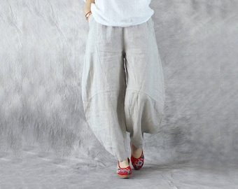 ad4df8db927 Women Casual Linen Pants Loose Harem Pants Wide Leg Trousers Comfortable Pants  Baggy Pants