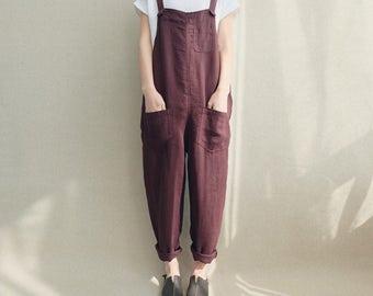 012dd7c3068 Women Casual Linen Jumpsuits Overalls Pants With Pockets Vintage Linen Harem  Pants