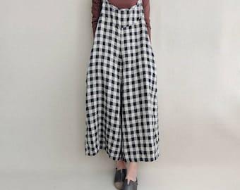 34ef25ee1ab Women Leisure Plaid Linen Jumpsuits Linen Overalls