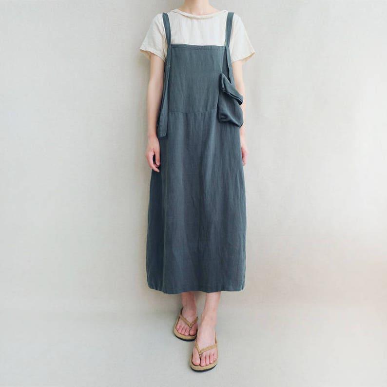 Women Comfortable Strap Dress Linen Overalls Cotton Leisure Linen Vest Dress With Pockets