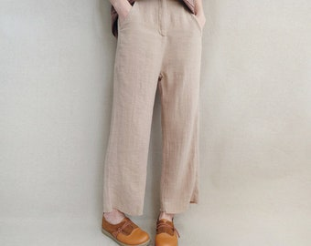 Women Casual Legging Linen Pants Loose Wide Leg Cropped Pants, Cotton Pants Comfortable Pants Elastic Waist Pants