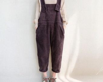 Women Leisure Corduroy Overalls Comfortable Dungarees, Adjustable Jumpsuits Wide Leg Pants Loose Bib Pants