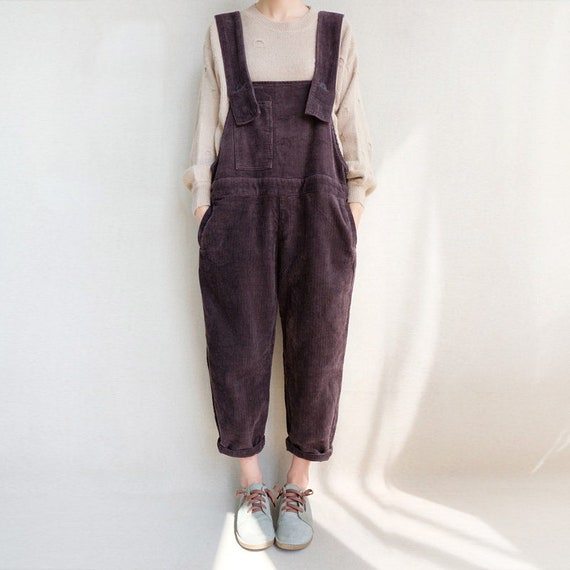 UK 1214 or US 1012 Lagenlook handmade quirky balloon shaped soft corduroy pinafore overalls,Large Pocket Real leather adjustable braces