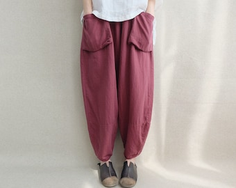 Women Loose Trousers Large Pocket Wide Leg Pants Linen Harem Pants