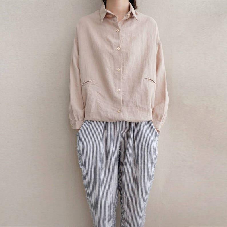 5aa2d49627 Women Simple Cotton Blouse Linen Tops Casual Blouse Leisure | Etsy