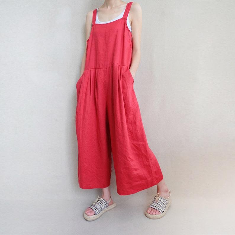 22065c65338 Women Leisure Linen Jumpsuits Baggy Overalls Wide Leg Pants