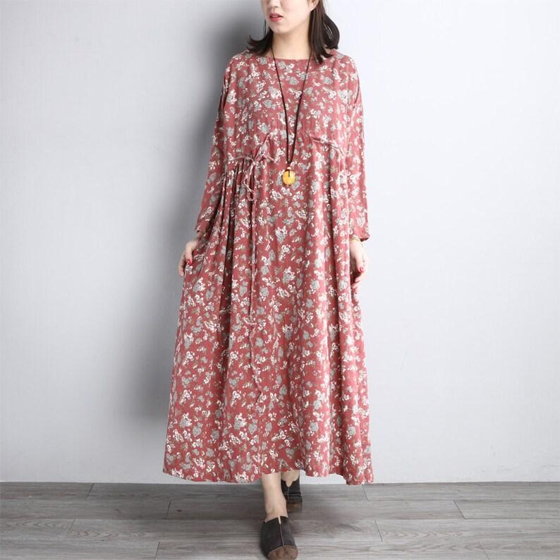 e8b0d567bae Les femmes coton Tunique robe Pleates robe robe longue robe