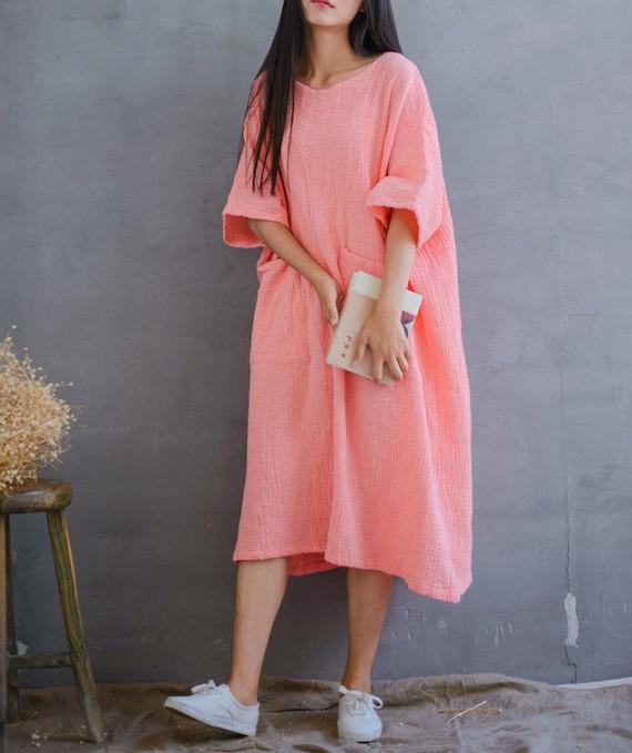 Women Loose Cotton Dress Plus Size Dress Long Sleeve Dress Etsy