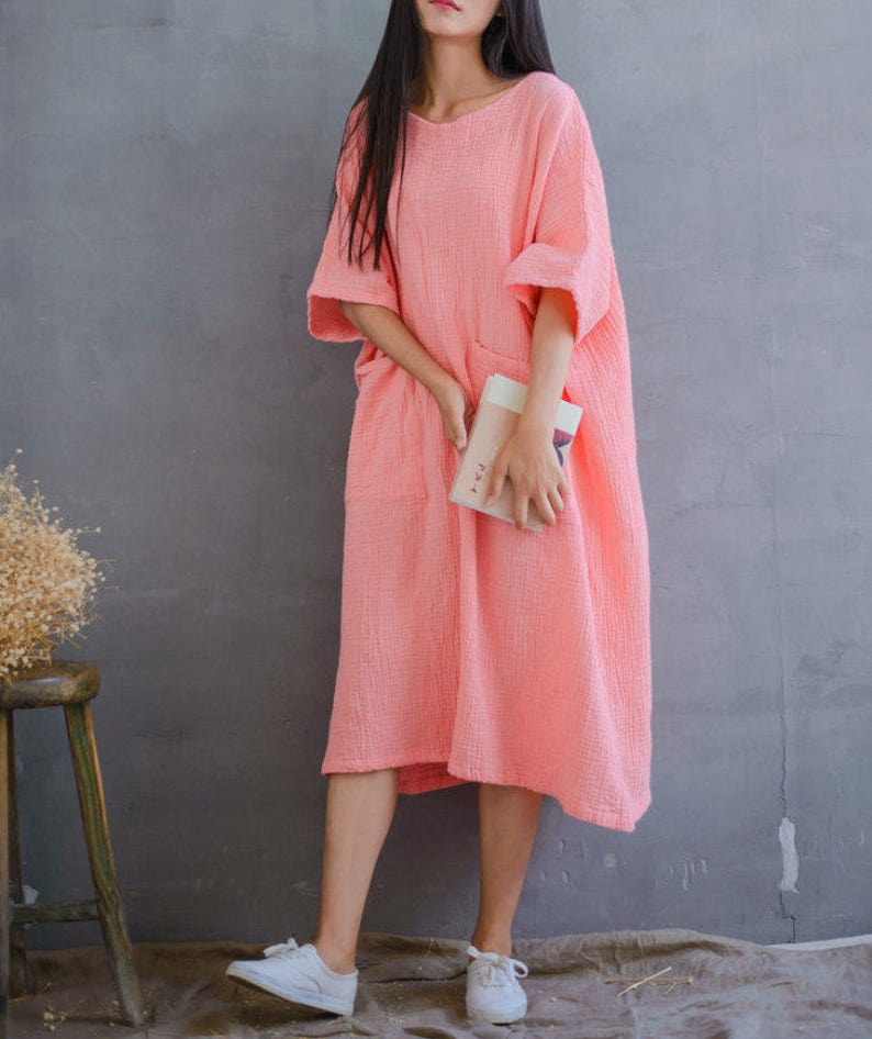 5c9eac4749c Women Loose Cotton Dress Plus Size Dress Long Sleeve Dress