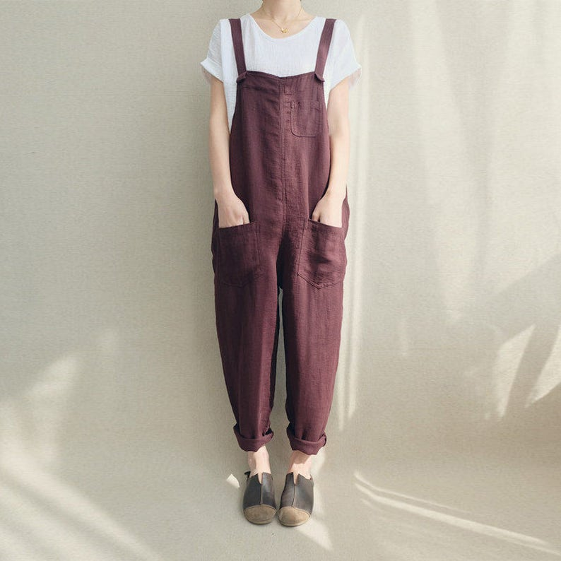 Women Casual Linen Jumpsuits Overalls Pants With Pockets image 0